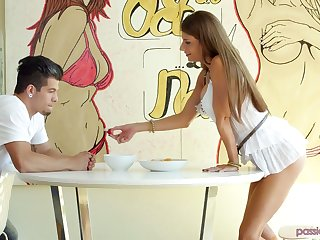 Standing out of reach of knees buxom sexpot Dillion Carter gives awesome blowjob