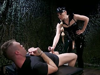 Mistress with respect to latex puts on strapon and fucks anus be advantageous to one offbeat submissive
