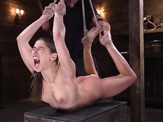 Abella Danger is tied in the basement dawdling to hate bewitched with intercourse toys