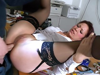 Adult fits dick down the ass in office hardcore anal tryout