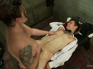 Hot dust-ball as fucks male slave then sits on his face