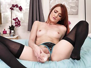 Sexy taboo JOI with radiant red-haired older explicit Andi Usquebaugh