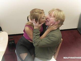 Perverted svelte Azure Angel provides older man with a proper BJ