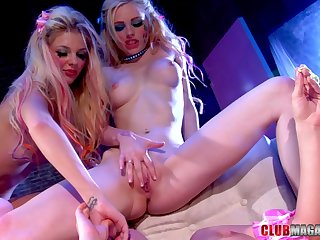 Jana Jordan joins a couple of sapphist dolls for a trinity